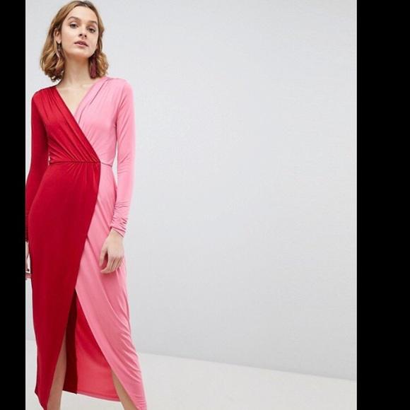 b240e4d3719 NWT ASOS Wrap Maxi Dress Red Pink 10 Color Block